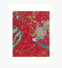 Red Map Art Print