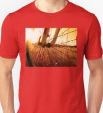 Cycling In A Wheat Field Unisex T-Shirt