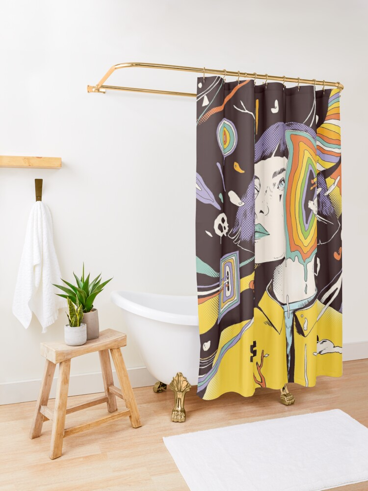 Alternate view of The Overthinker Shower Curtain