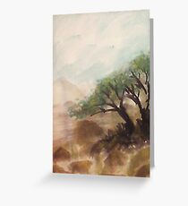 Resting under trees on slope in desert mountains, watercolor Greeting Card