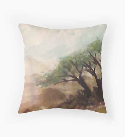 Resting under trees on slope in desert mountains, watercolor Throw Pillow