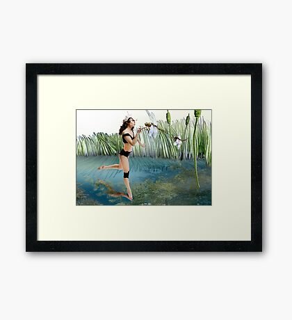 Fireflies on the Enchanted Lake - Arual Framed Print