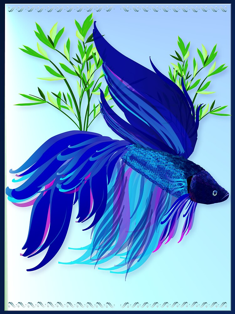 Big Blue Siamese Fighting Fish By Lotacats Redbubble