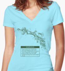 Ray Gun Warning Label Shirt Women's Fitted V-Neck T-Shirt