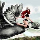 Arual the Elf flying on a goose by balgrittella