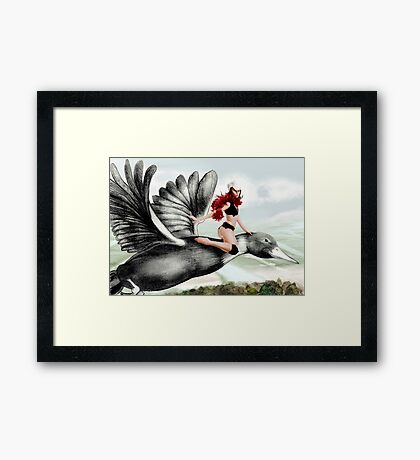 Arual the Elf flying on a goose Framed Print