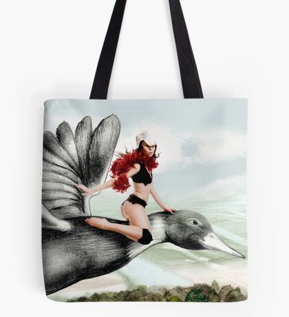 Arual the Elf flying on a goose Tote Bag