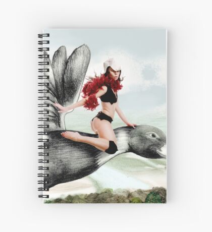 Arual the Elf flying on a goose Spiral Notebook