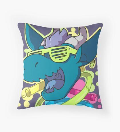 Rave Dragon Throw Pillow
