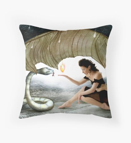 The Elf and the Snake Throw Pillow