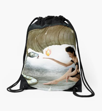 The Elf and the Snake Drawstring Bag