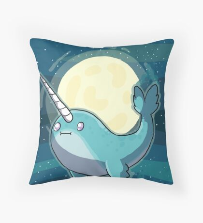 Space Narwhal Throw Pillow