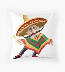 mexican musician in sombrero with trumpet drawn in cartoon style Throw Pillow
