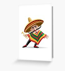 mexican musician in sombrero with trumpet drawn in cartoon style Greeting Card