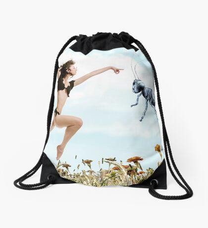 Jump like a cricket Drawstring Bag