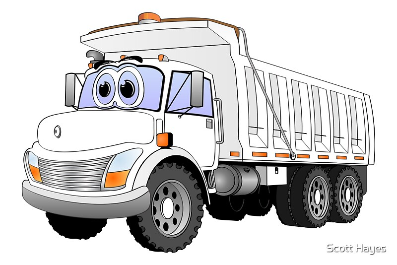 Dump Truck 3 Axles : Quot white dump truck axle cartoon posters by graphxpro