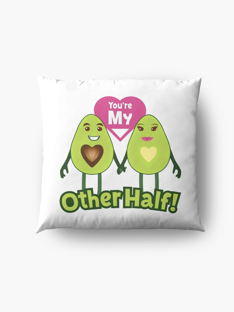 Alternate view of You're My Other Half Emoji Lovely Avocado saying Floor Pillow