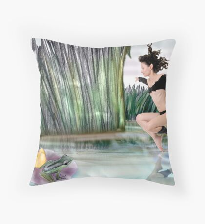 The elf and the Frog Throw Pillow