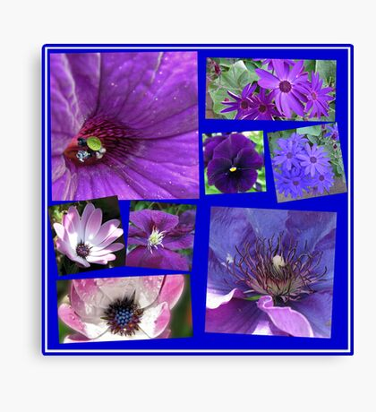 Pink and Purple Passion Floral Collage Leinwanddruck