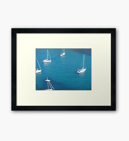 Boats in a Menorcan bay. Framed Print