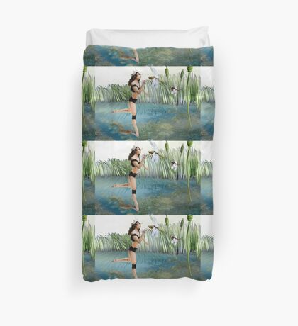 Fireflies on the Enchanted Lake - Arual Duvet Cover