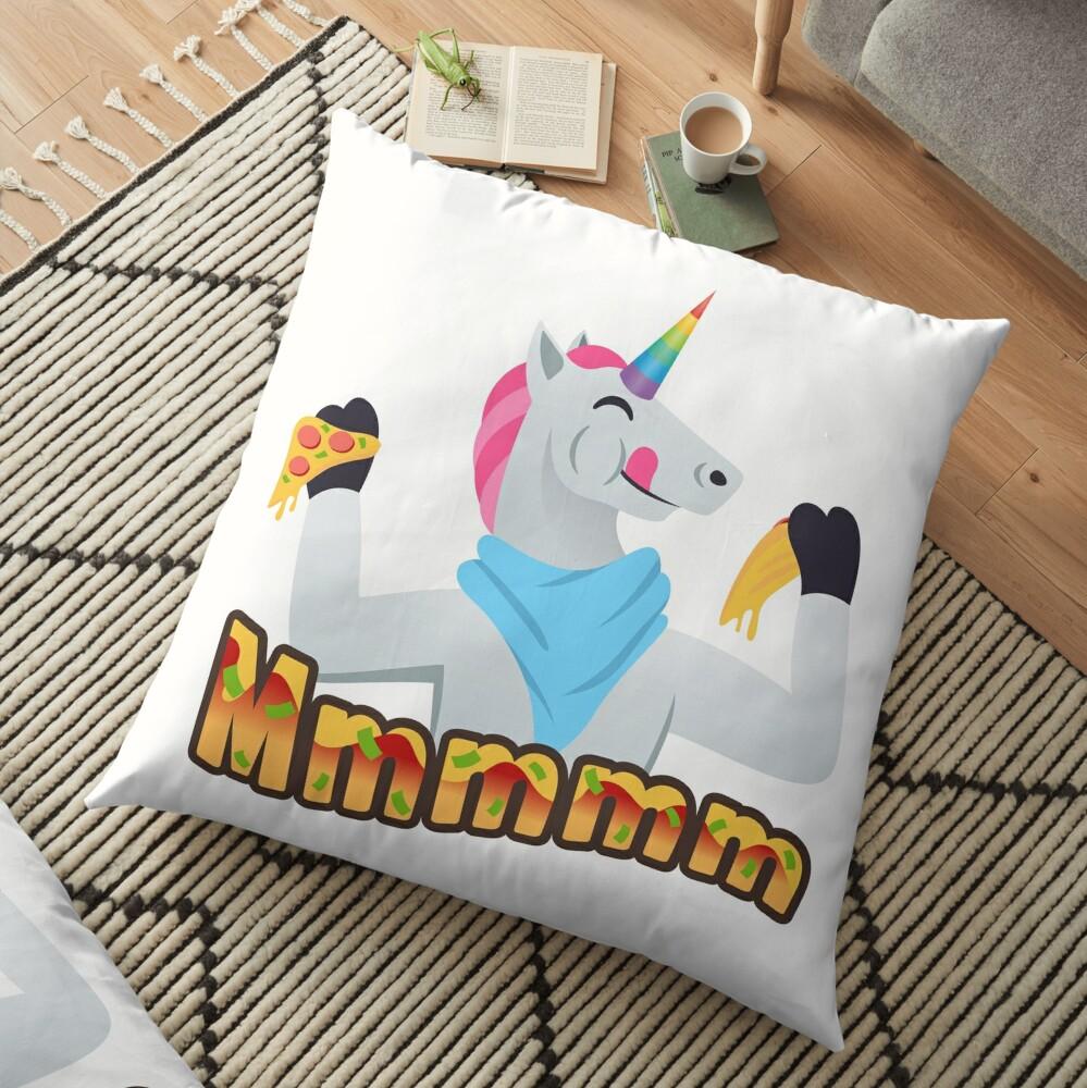 Pizza Lover Unicorn Emoji Loving Pizza Cartoon Floor Pillow