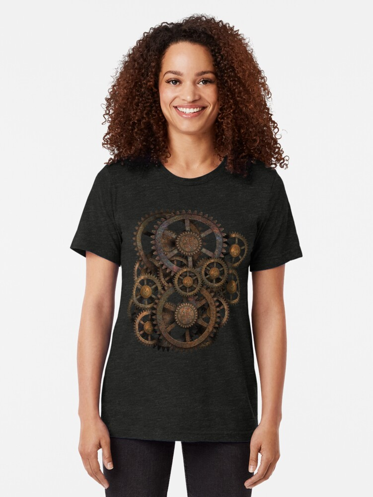 Alternate view of Infernal Vintage Steampunk Gears on your Gear Tri-blend T-Shirt