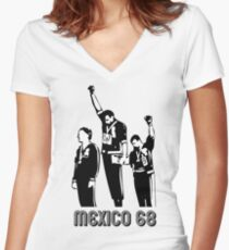 1968 Olympics Black Power Salute V2 Women's Fitted V-Neck T-Shirt