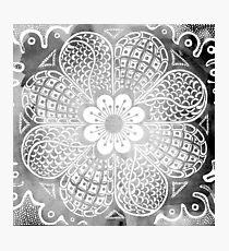 Vintage black white watercolor lace floral pattern Photographic Print