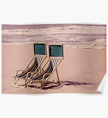 Empty Beach and Chairs Poster