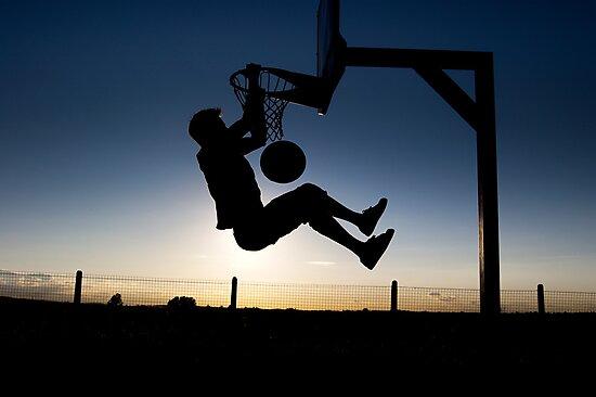 Sunset Basketball Dunk by jmsandjono