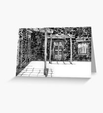 Mission Patio In Black And White Greeting Card