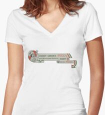 Daddy Green's Pizza! Women's Fitted V-Neck T-Shirt