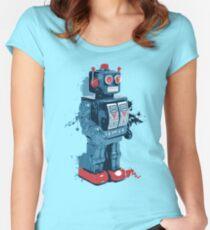 Blue Toy Robot Splattery Shirt Women's Fitted Scoop T-Shirt