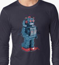 Blue Toy Robot Splattery Shirt Long Sleeve T-Shirt