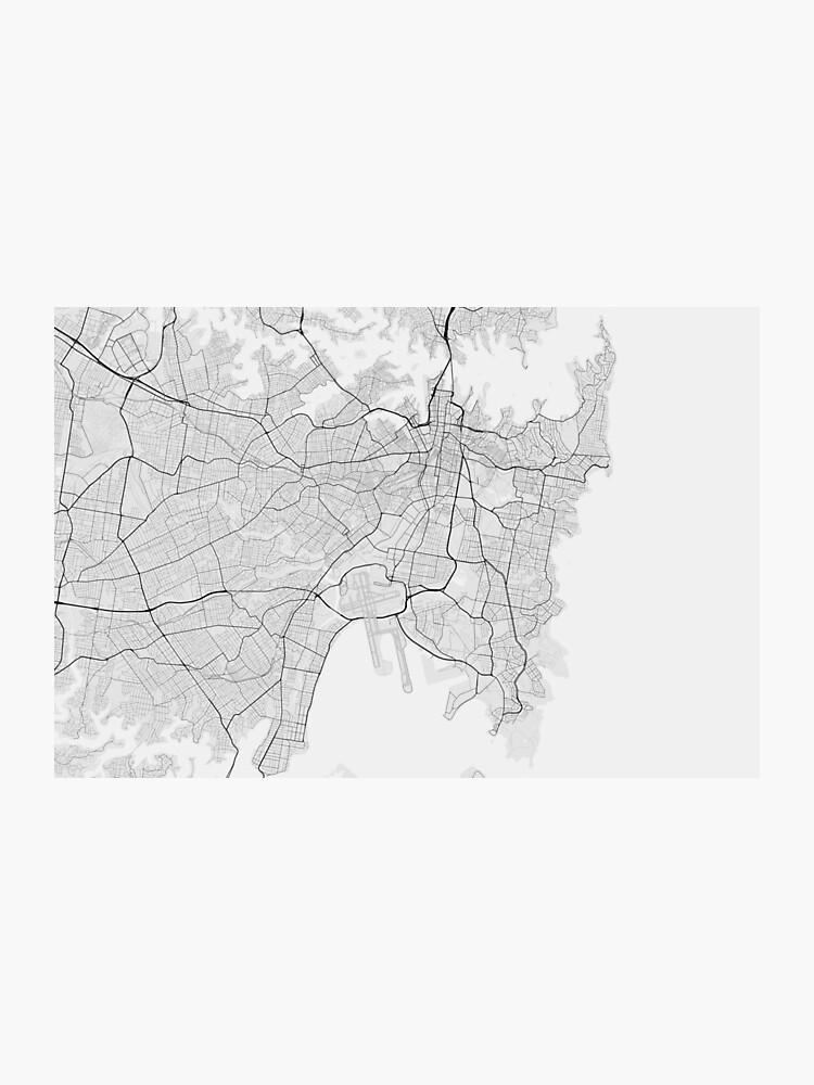 Australia Map Black And White.Sydney Australia Map Black On White Photographic Print