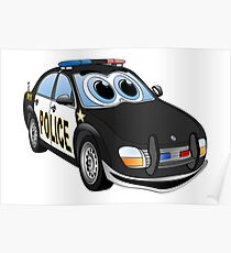 Police Black Whote Car Cartoon Poster