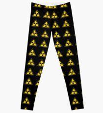 Legging Señal de advertencia de símbolo radiactivo - Radiactividad - Radiación - Amarillo y negro - Triangular