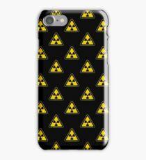 Radioactive Symbol Warning Sign - Radioactivity - Radiation - Yellow & Black - Triangular - Tiled iPhone Case/Skin