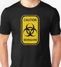 Caution Biohazard Sign - Yellow & Black - Rectangular T-Shirt
