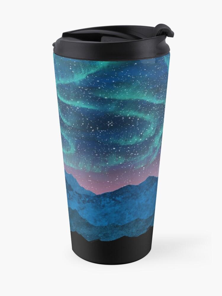 Alternate view of Aurora borealis over mountains Travel Mug