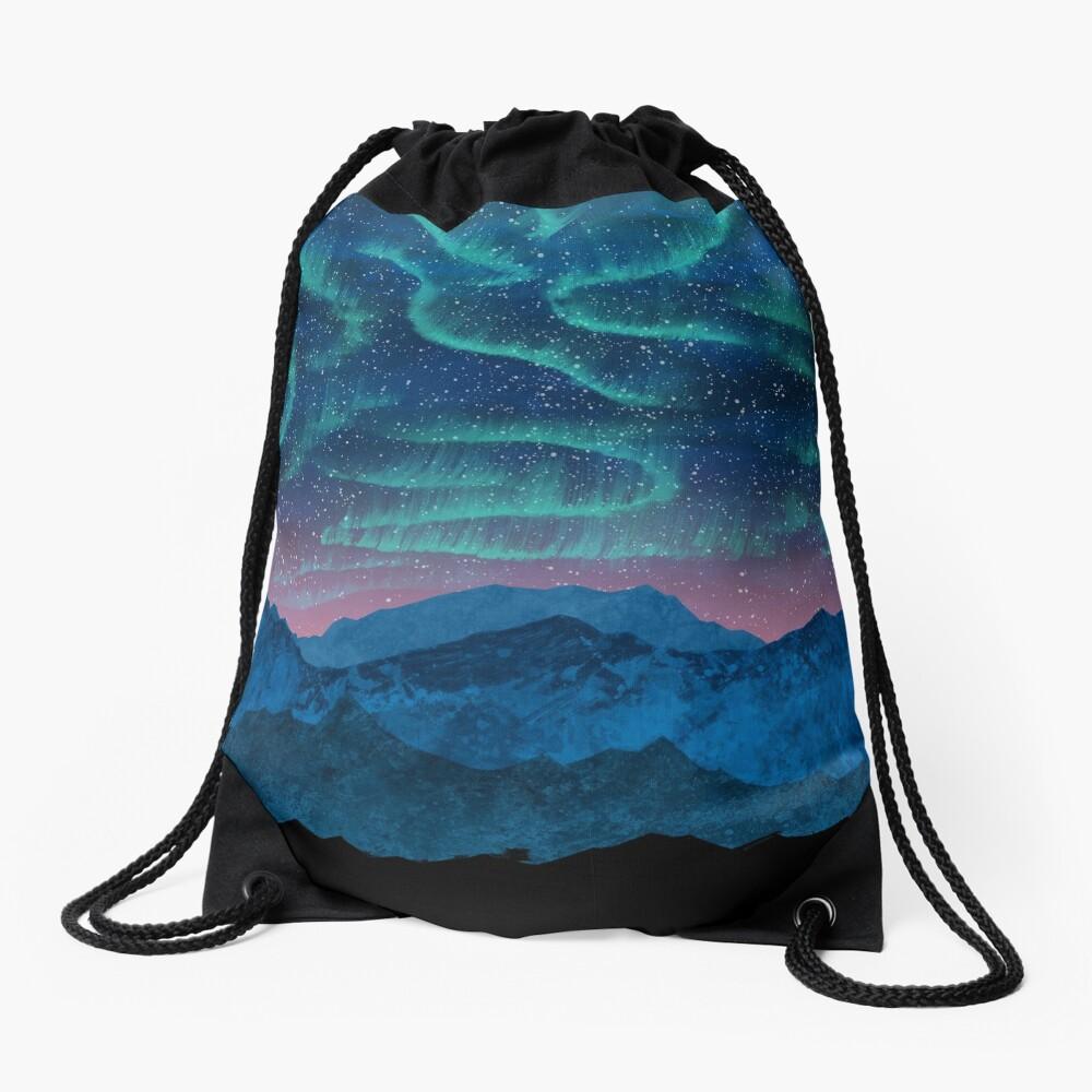 Aurora borealis over mountains Drawstring Bag
