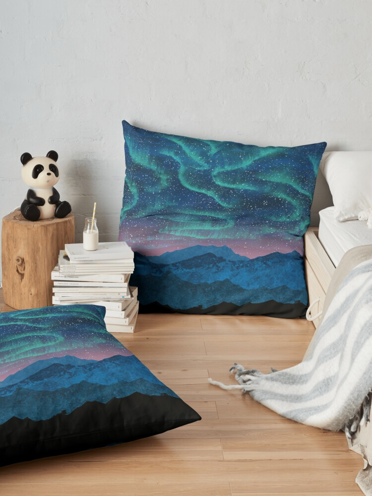 Alternate view of Aurora borealis over mountains Floor Pillow