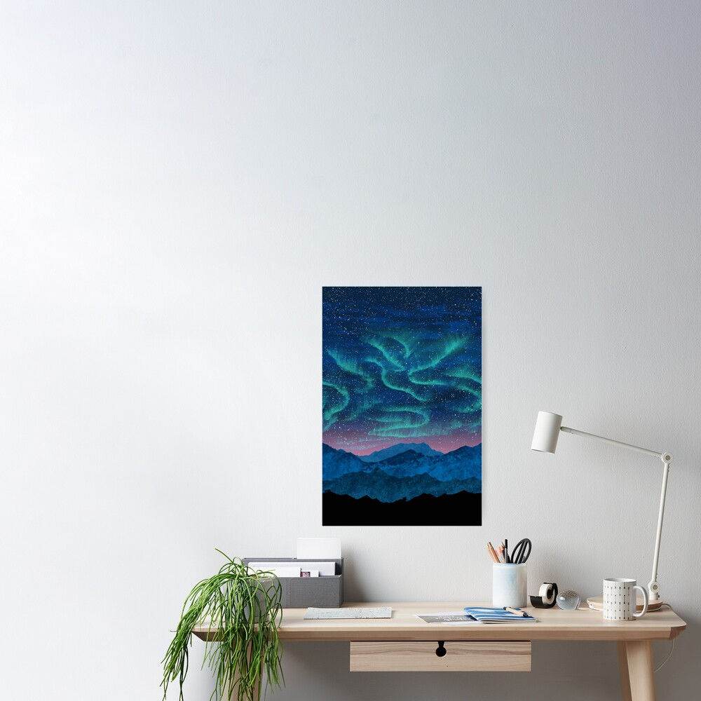 Aurora borealis over mountains Poster