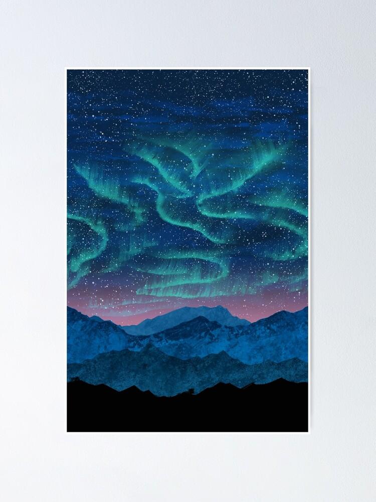 Alternate view of Aurora borealis over mountains Poster