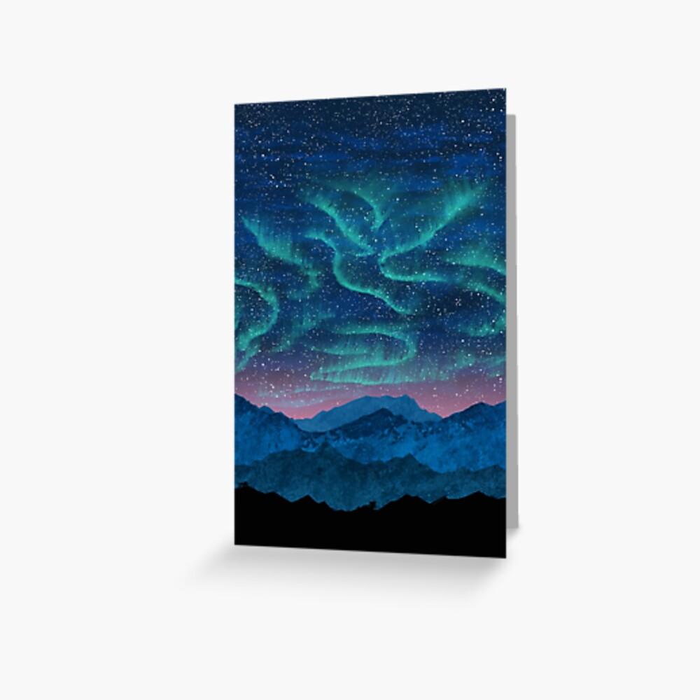 Aurora borealis over mountains Greeting Card
