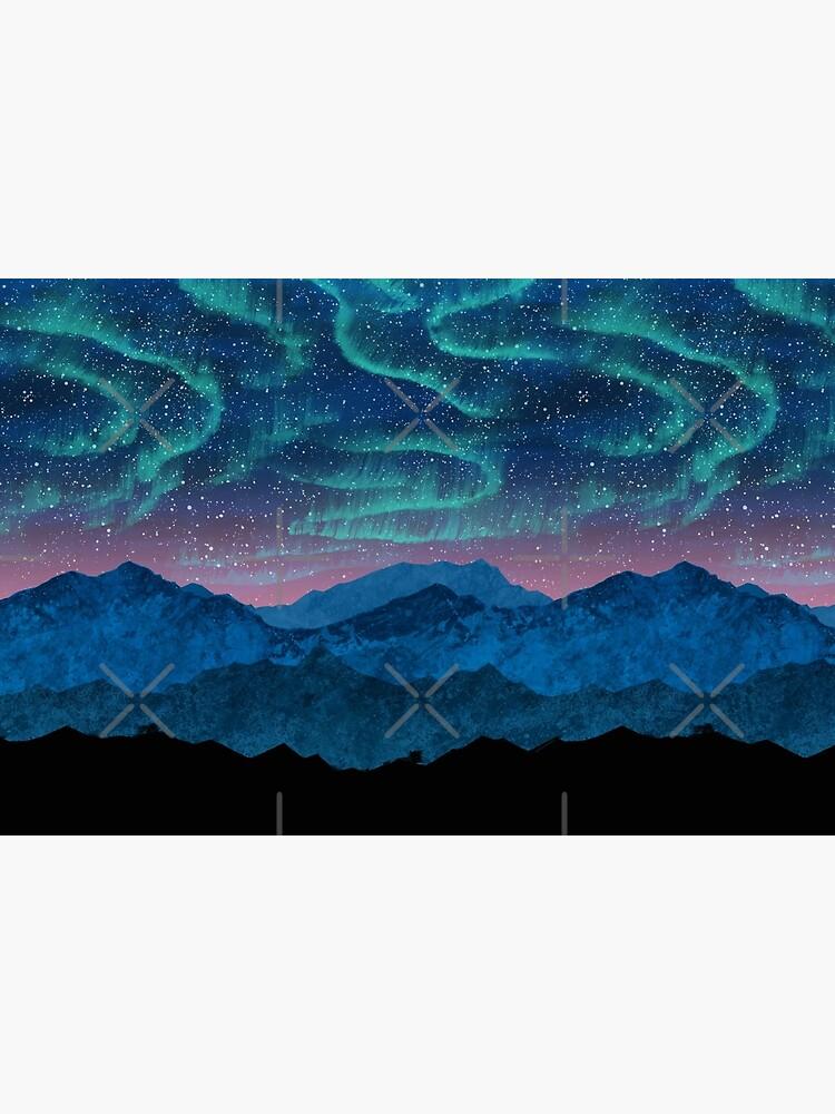 Aurora borealis over mountains by Nozzas