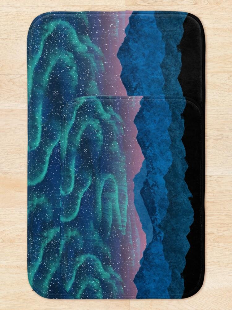 Alternate view of Aurora borealis over mountains Bath Mat