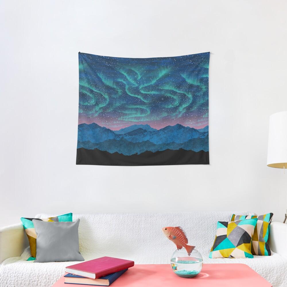 Aurora borealis over mountains Tapestry