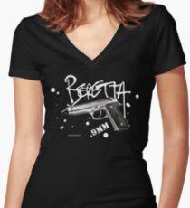 Beretta 9mm Pistol -white script Women's Fitted V-Neck T-Shirt